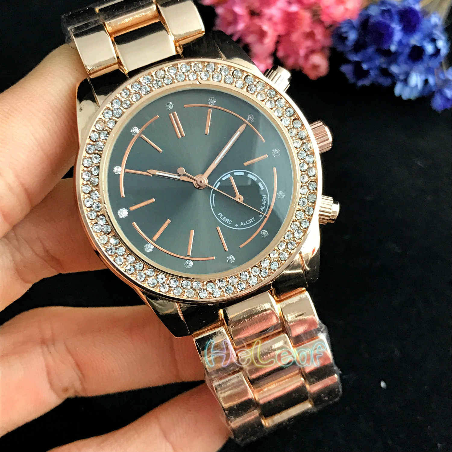 Luxury Hot Sale brand Lady watches Silver Gold Full Steel Quartz Watch Female diamond black Clock Montre Femme Relogio Feminino