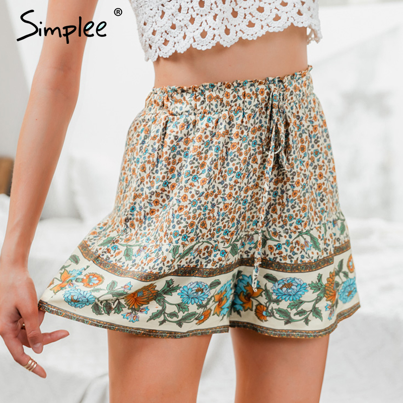Simplee Bohemian Floral Print Women Shorts High Waist Elastic Lace Up Female Casual Shorts Beach Summer Ladies Holiday Shorts