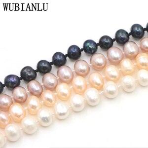 Image 4 - WUBIANLU 3 Reihe 7 8mm Weiß Süßwasser Perle Halskette Kette Blumen Tasten Schmuck Frauen Mädchen Bankett 17  19 InchFashion Charming