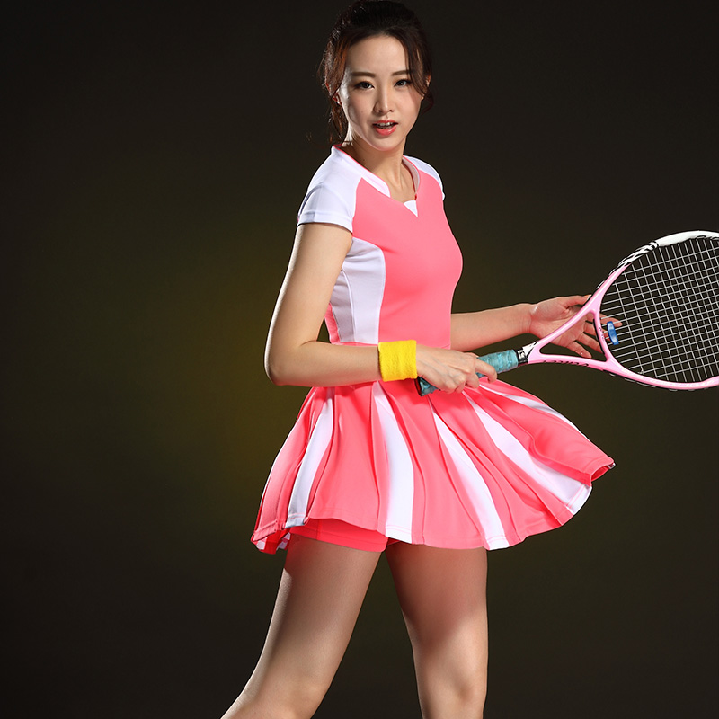 Shuttlecock Women's Fast Dry Short-sleeved Table Tennis Women's Suit Tennis Dress Summer Jersey