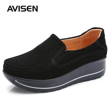 2019 Spring/Autumn Women Flat Platform Shoes Suede  Leather Slip On Flat Casual Shoes Woman Loafers Ladies Shoes Plus Size 42 women s platform shoes new spring casual woman weave shoes breathable girls handmade sapatos femininos loafers ladies shoes fx3