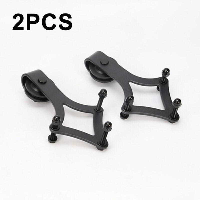 2Pc rustique en acier noir rouleau roue cintre pour coulissante grange porte matériel poulie