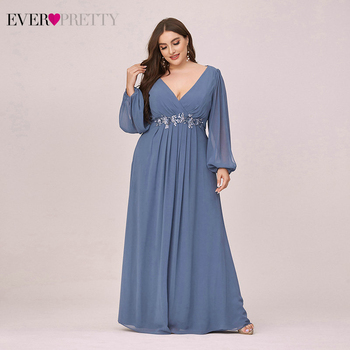 Plus Size Dusty Blue Mother Other Of The Bride Dresses Ever Pretty EP00461DN A-Line V-Neck Full Sleeve Appliques Party Gowns 1