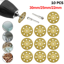 10pcs/set 22/25/30mm Mini Diamond Saw Blade Silver Cutting Discs with 2X Connecting Shank for Dremel Drill Fit Rotary Tool