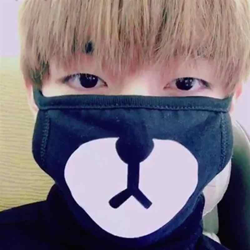 Allkpoper kpop unisex bonito anime dos desenhos animados urso máscara boca kawaii anti poeira máscara facial inverno algodão engraçado anime acessórios