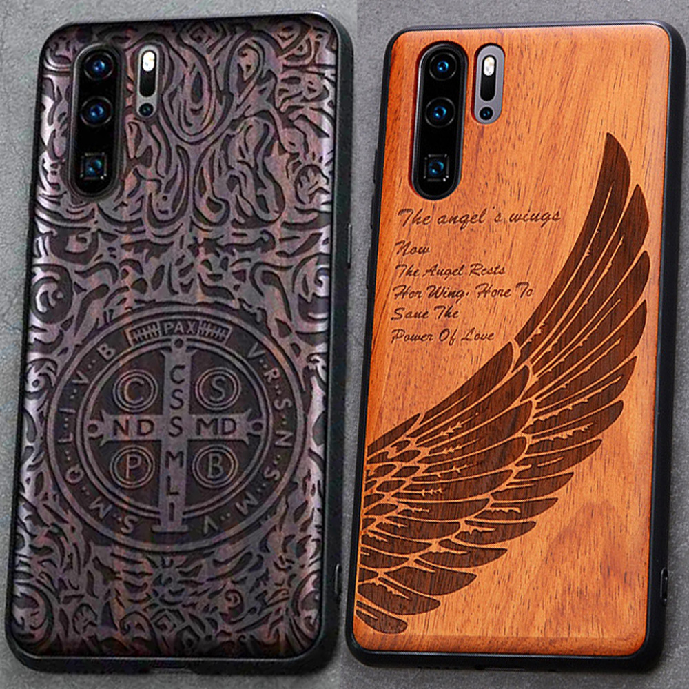 3D Carved Wood Cartoon Bear Case For Huawei P30 Pro Dragon Lion Wolf Tiger Tree wooden carve Cover For P30 Lite(China)