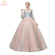 Ball-Gown Tulle Quinceanera Blue-Pink Off-Shoulder Lace Half Vestidos-De-15-Anos Spaghetti-Strap