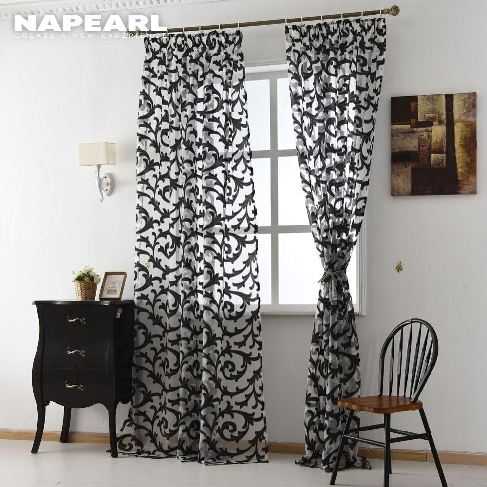 NAPEARL European Style Sheer Curtain Home Tulle Panel Living Room Drapes Window Treatments Brand New Organza Fabrics