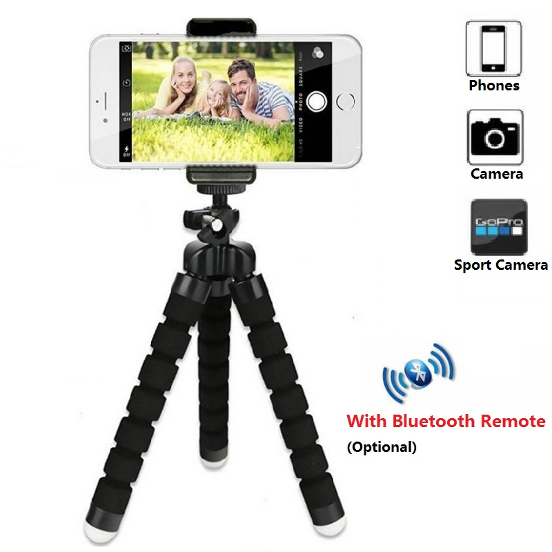 Color : Black, Size : One Size LIUFENGLONG Portable Tripod Phone Tripod 3 in 1 Bluetooth Remote Shutter Portable Handle Selfie Stick Mini Table Tripod for Android Photography Tripod Units