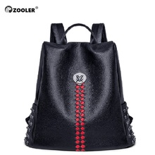 ZOOLER 100% Real Genuine Cow Leather Backpack Red Pot Women Designed Backpacks First Layer Cowhide School Book Bag Mochila#lt211
