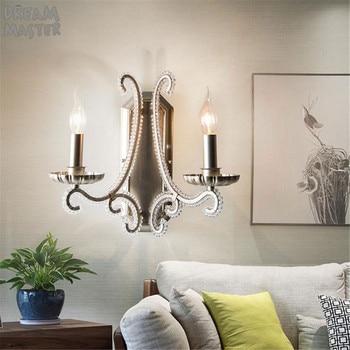 Amerikaanse Land Wandkandelaars Slaapkamer Bedlampje Retro Eenvoudige Gangpad Woonkamer Kristallen Wandlamp Hoge Kwaliteit Antieke Verlichting