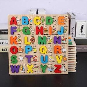 Детский деревянный пазл с цифрами алфавита, обучающий пазл с цифрами букв, пазл для дошкольного образования, детские игрушки