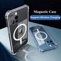 Für Macsafe Schutzhülle Für iPhone 11 12Mini Pro Max XS XR X Magsafing Stoßfest Fall Zurück Abdeckung Magnet transparent Stoßstange