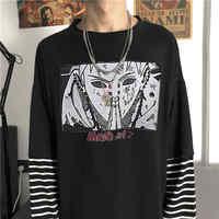 Japan Cartoon T Shirt Naruto Men T-shirt Casual Cute Amine TShirt Hip Hop Printed Shirts Autumn High Street Tops Tee O-neck Patckwort Tshirt Streetwear Korean Funny Men Striped Punk T Shirts Boys