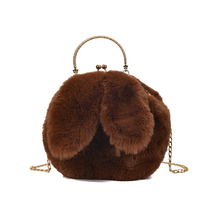 Fashion Youth Ladies Messenger Bag Plush Rabbit Shoulder Bags Cute Female Handbag Round Autumn And Winter Small Chain Bag Soft цена