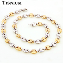7/9/11mm Melon Seed Style Necklaces Men Women Gold And Silver Colour Stainless Steel Choker Wholesale Retail Birthday Gift Hot