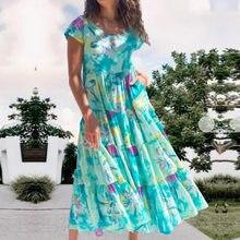 Summer Women Boho Dresses 2021 Plus Size Tie Dye Green Print Short Sleeve Loose Dress Flowy O-Neck Beach Evening Party Dress