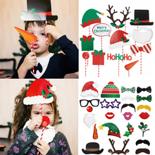 Photo Booth Props Christmas Decorations Antlers Mask Merry Christmas Photobooth Happy New Year 2020 Party Supplies Kerst Decor цена 2017