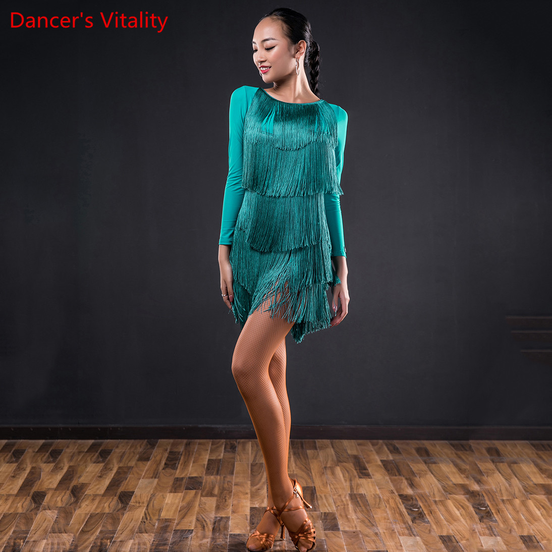 Latin Dance Performance Clothes Women Adults Sexy Bandage Tassel Dress Chest Paddings Rumba Samba Tango Cha Cha Dancing Set
