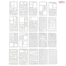 Пуля 20шт журнал трафарет Набор пластиковых планировщик DIY рисунок шаблон Дневник декор Craft