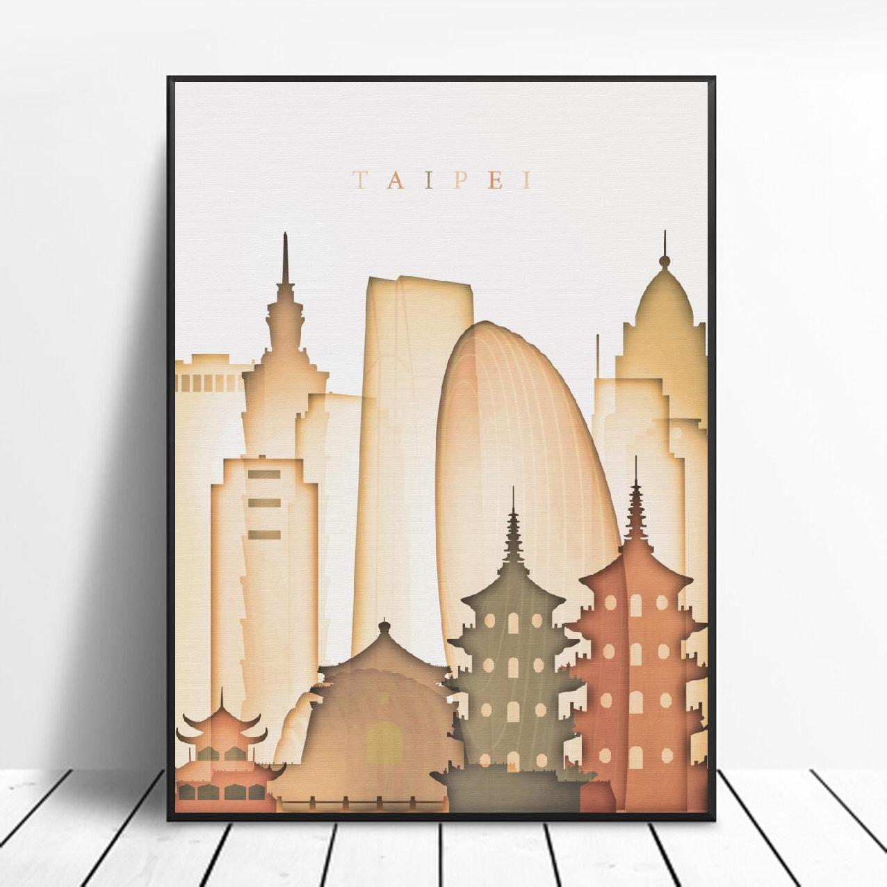 Taipei Taiwan Skyline Canvas Print Wall Art Poster Picture Modern Bedroom Living Room Decoration No Frame(China)