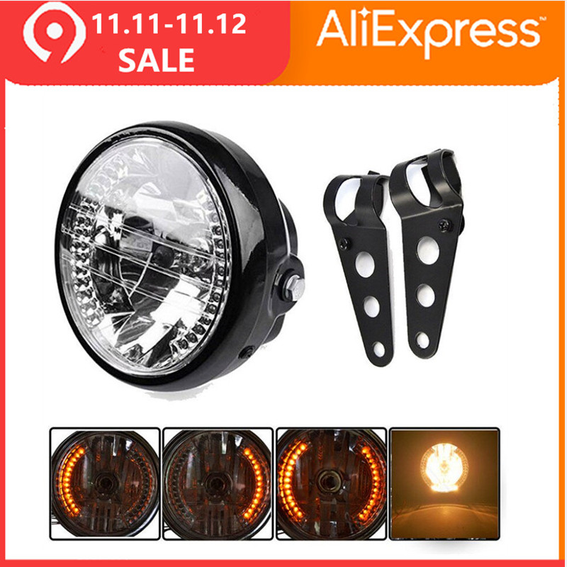 CARCHET  7inch 12v Motorcycle Round Headlight Turn Signal Light Head Lamp For Harley Bobber Honda Yamaha Kawasaki Cafe Racer