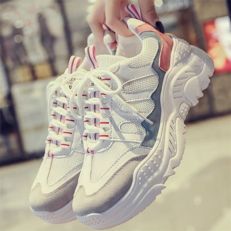 2020 Chunky Sneakers New White Shoes Woman Fashion Dad Shoes Mesh Big Wave Platform Sneakers Women Casual ShoesTenis Feminino