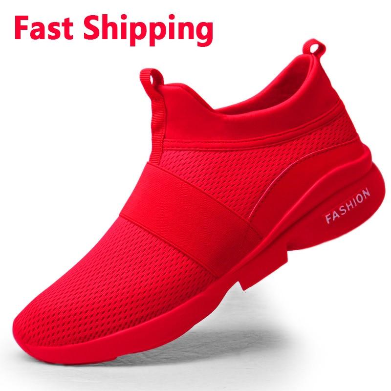 Fast Shipping Men's Casual Shoes Breathable Women's Fashion Mesh Shoes Light Couple's Comfortable Zapatos De Hombre Plus 36 46