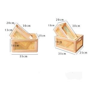 Image 4 - Wooden storage box practical handmade primary color desktop decorative clothes storage basket kitchen interior household items