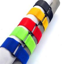 25 шт. многоразовые 2*20 см ремень с пряжкой Кабельные стяжки жгут проводов нейлоновый шнур самоклеющиеся крепежные ремни для домашнего использования Органайзер