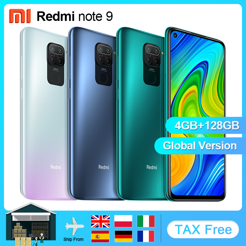 """Global Version Xiaomi Redmi Note 9 4GB 128GB NFC Smartphone android Mobile Phones Helio G85 Octa Core 6.53 """"Display 5020mAh