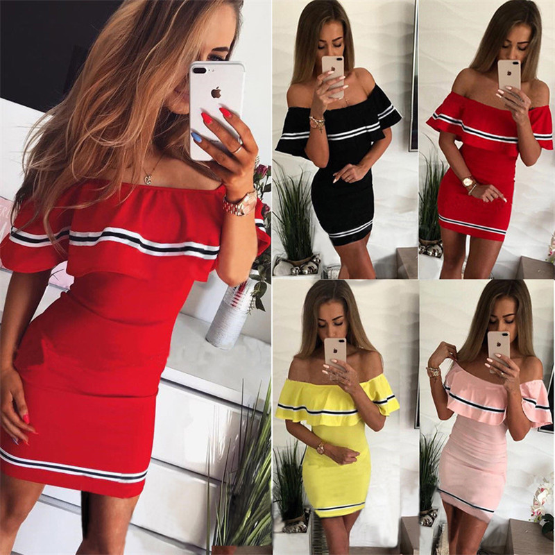 H1f091d300373412280bcab187f0c4a74v - Off Shoulder Slash Neck Sexy Autumn Party Dress Striped Ruffles Short Sleeve Summer Dress Women Plus Size Casual Beach Vestidos