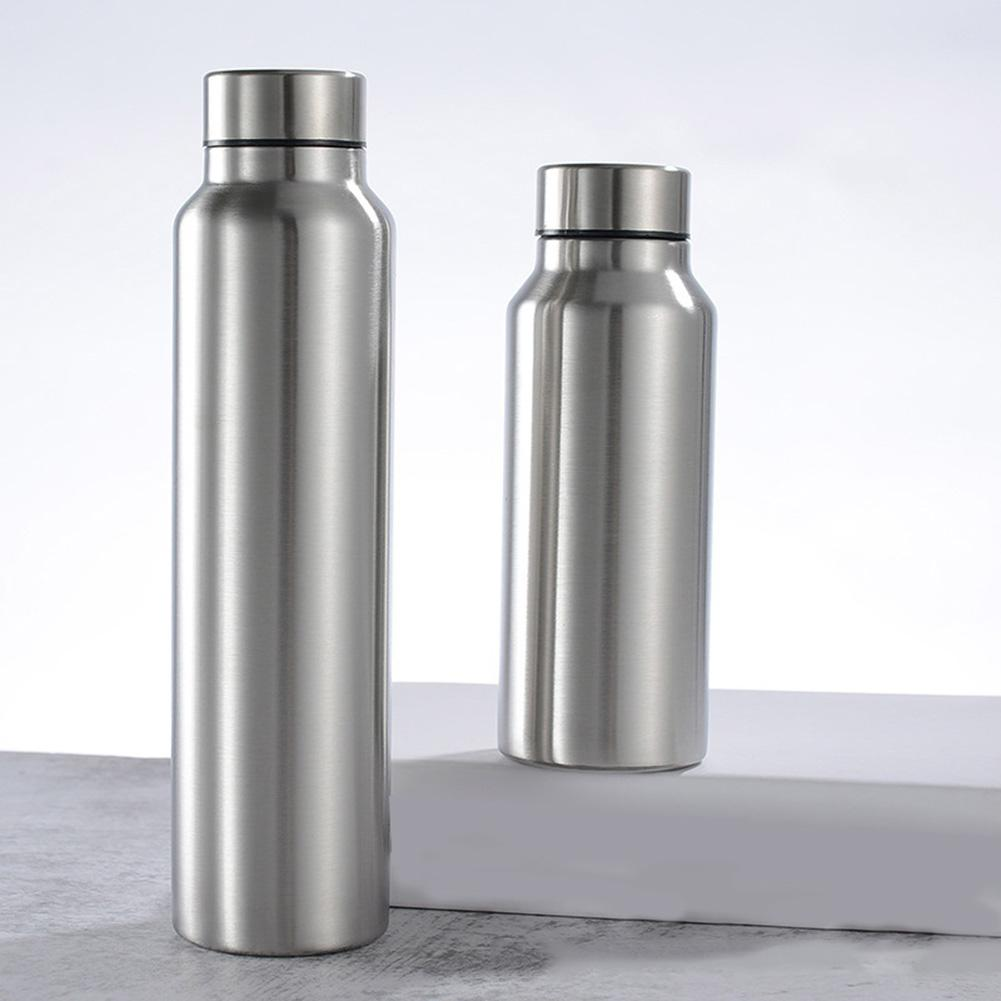 650ML/1000ML Stainless Anti-scalding Motion Sports Water Bottle Rugged Water Cup Monolayer Metal Color Drink Bottle Drinkware