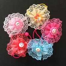 1 Pcs/lot Chiffon Lace Flower Hair Tie Rope Cute Band Colorfully Boutique Bows Elastic Lovely Accessories