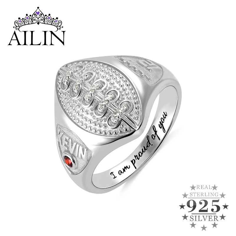AILIN Gold Color Football Mens Ring Hollow Rhinestone Sterling Silver Men Rings Personalized Name Number Engraving