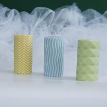 Geometryczna cylindryczna forma na świeczkę poziome paski w pionowe paski forma na świeczkę prosta nowoczesna świeca silikonowa tanie tanio CN (pochodzenie) Cake mold Silicone None Irregular Baking mold cake mold