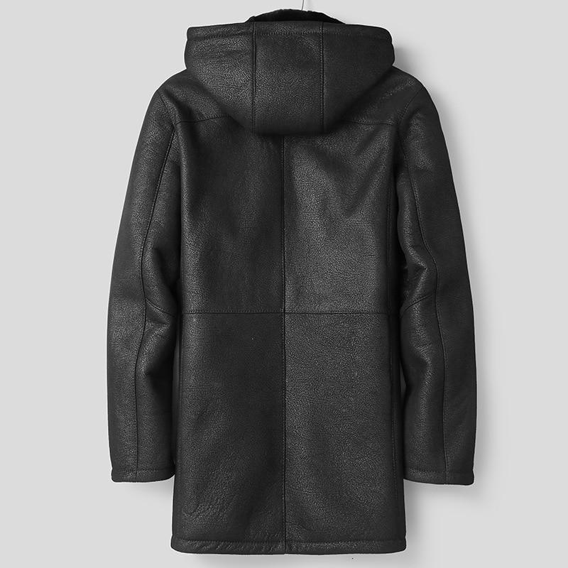 Shearling Sheepskin Coat Winter Genuine Leather Jacket Men Natural Wool Fur Long Luxury Leather Jackets 81E8-11 KJ2424