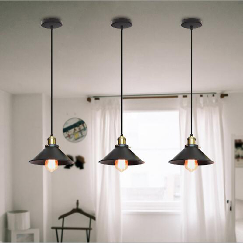 lowest price Vintage Iron Wood Grain Shop Pendant Lamp E27 Lamp Holder 110-240V Foyer Coffee House Dining Hall Indoor Bedroom Lightings