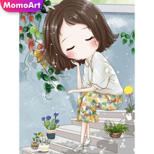 MomoArt 5D Diamond Painting Girl Full Drill Square DIY Embroidery Cartoon Cross Stitch Gift Home Decoration