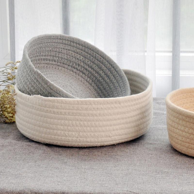 Round Small hand-woven Basket Bedside Tabletop Snacks Debris Basket Storage Basket Key Cosmetics Coffee Table Storage Basket