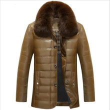 Jacket Coats Sheep-Skin Winter Mens Thick Fox-Collar Aged Middle-Lapel