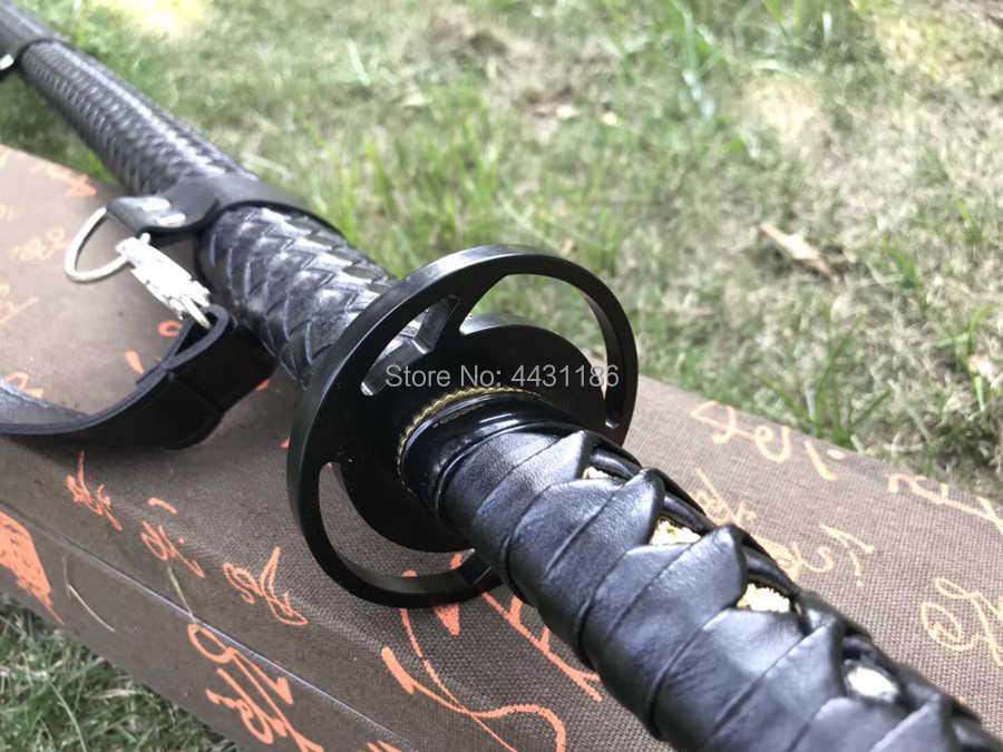 Battle Klaar Japanse Samurai Rechte Mes Sabel Volledige Tang Lente Steel Blade Sharp Ninja Dao Zwaard Katana