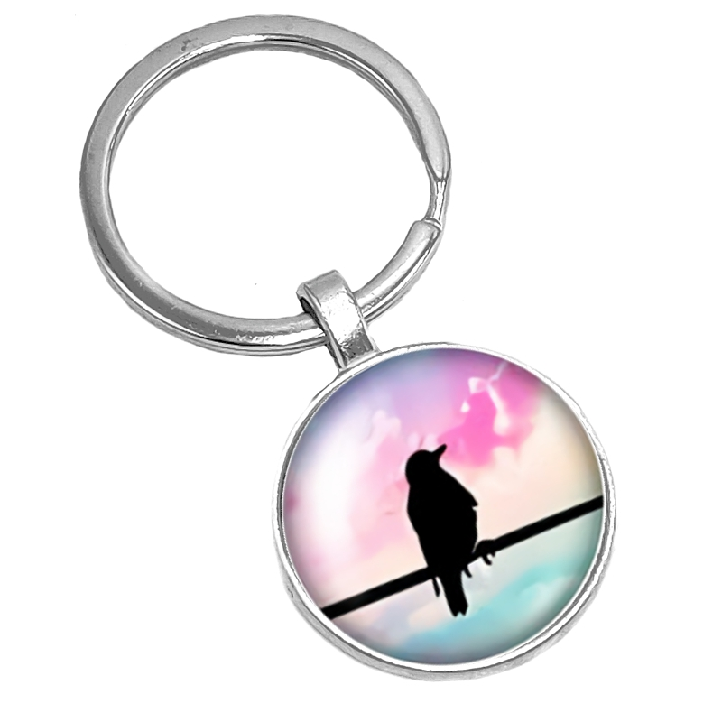 2019 New Hot Bird Silhouette Color Background Pattern Series Glass Cabochon Keychain Popular Jewelry Gift in Key Chains from Jewelry Accessories