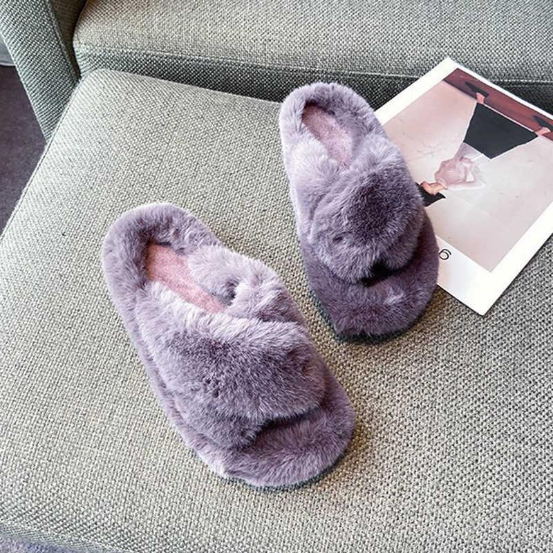 Dép Đi Trong Nhà Lông Ấm Giày Mùa Đông Mềm Mở Mũi Giày Sang Trọng Dễ Thương Cho Bạn Nữ 2020 Thời Trang Mới Phẳng Gót Mùa Đông mùa Thu Dép