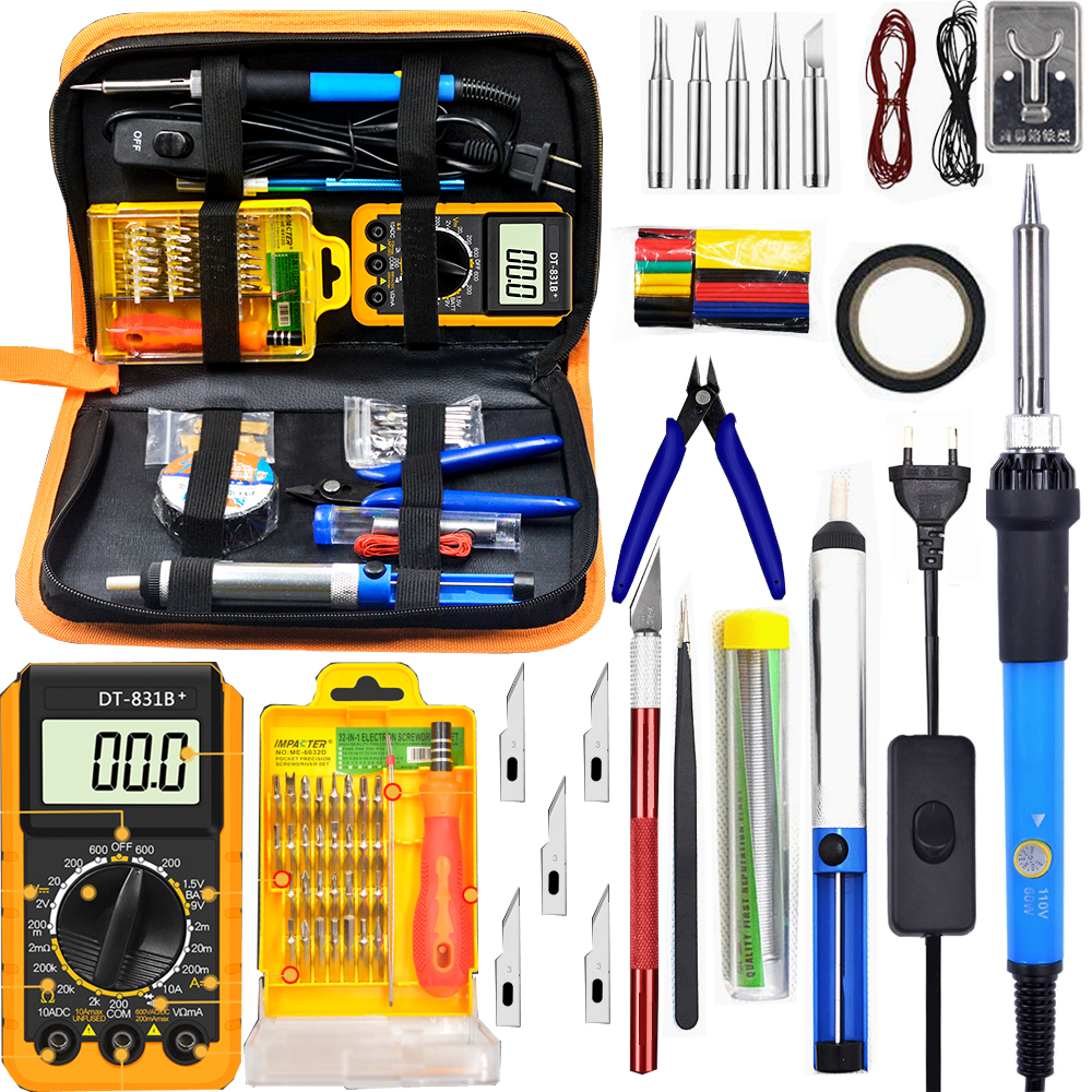 60W With Switch Adjustable Temperature Electric Soldering Iron Kit 220V 110V Digital Multimeter Soldering Tips Solder Wire Tool