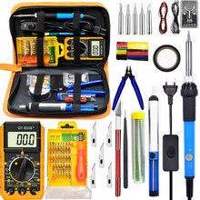 Kit de temperatura ajustable para soldadura eléctrico de hierro, 60W, 220V, 110V, multímetro Digital, puntas de soldadura, herramienta de cable de soldadura