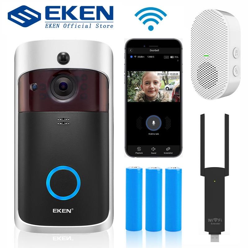 EKEN V5 Смарт IP видеодомофон WIFI видеодомофон дверной звонок WIFI дверной Звонок камера ИК сигнализация беспроводная камера безопасности