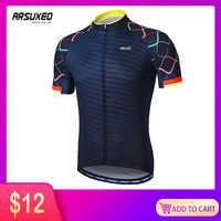 ARSUXEO Männer Kurzen Ärmeln Radfahren Jersey Quick Dry MTB Jersey Berg Fahrrad Shirts Rennrad Kleidung Reflektierende Zipper Z84
