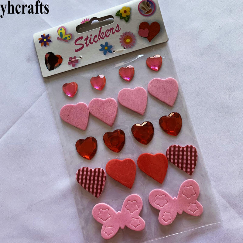 1Bag/Lot,3D Foam Heart Foam Stickers Heart Diamond Valentine Decoration Wedding Crafts Gifts Favor Present  Promotion Cheap OEM