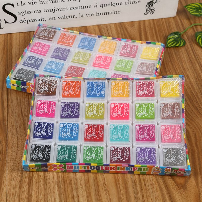 24Pcs Mini Kids Fingerprint Painting Colorful Ink Pad Stamp Partner Baby DIY Art Craft Seal Graffiti Tool Early Educational Toy